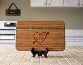 Personalized Cutting board, Custom Engraved Striped Bamboo, Kitchen Decor, Family Name, Housewarming Gift, Newlywed Gift --22804-CBBS-001