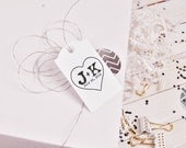 Clear Block Heart with initials etched  inside rubber stamp custom monogram stamp