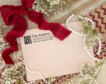Self inking Christmas Return Address Merry Christmas address stamp --3148