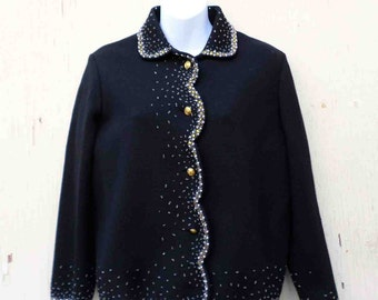 Vintage Sixties Black Beaded Wool Cardigan Sweater by Diamonte Made in Hong Kong Size S/ AS-IS Condition
