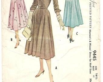 Vintage 50s Sewing Pattern McCalls 9445 Dress Full Skirt Gores Rockabilly Party Bust 37 Original Uncut