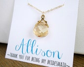 Gold bridesmaid necklace with card, personalized name card, bridesmaid card, bridesmaid gift, champagne crystal necklace, Swarovski Cyrstal