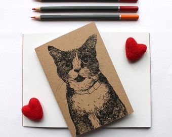 A6 Cat Notebook With Kraft Cover Plain Pages Blank Notebook