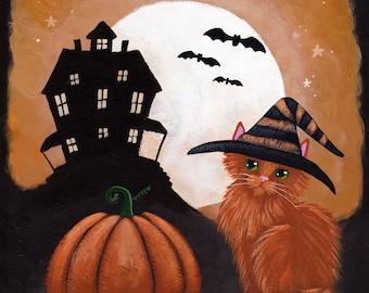 The Little Ginger Witch - Original Halloween Cat Folk Art Painting