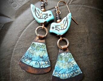 Copper Slabs, Crackle Art, Retro, Funky, Bird, Blue Bird, Copper Earrings, Earthy, Rustic, Cottage Chic, Beaded Earrings