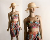 Vintage 2 Piece Summer Set - Bikini Top and Wrap Skirt - 1970s Psychedelic 1950s Style Cotton Outfit - Medium Large