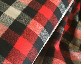 Hipster Flannel fabric, Buffalo Plaid, Flannel by the yard, Lumberjack Chic, Mammoth Flannel, Medium Plaid in Gray/Red/Black, Choose the cut