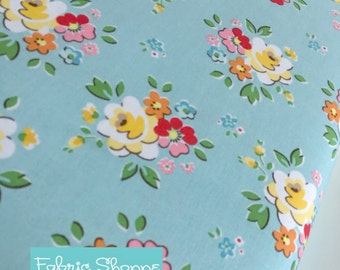 SALE Backyard Roses, Backyard Roses Main in Blue fabric, Discount fabric, Riley Blake Fabrics, Fabric by the yard, Choose your cut