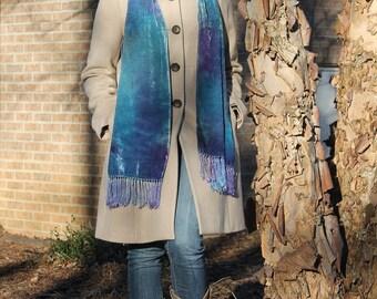 Shimmer ... hand painted silk velvet scarf