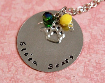 Hand Stamped Baylor Bears Necklace