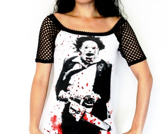 Texas Chainsaw Massacre Leatherface shirt top horror alternative clothing apparel altered diy reconstructed