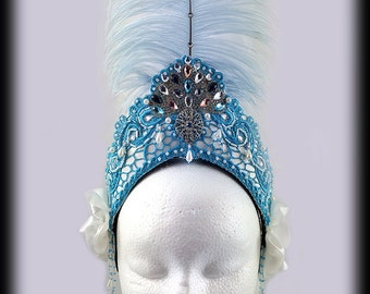 White and Sky Blue Lace Tiara, Carnival Headdress, Feather Headdress, Ostrich Feather Headpiece