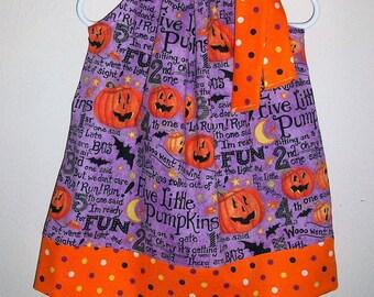 Halloween Dress Pillowcase Dress with Pumpkins Jack O Lantern Dress Purple Orange and Black Girls Dress baby dress toddler dress Fall Dress