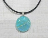 Blue Pendant, Small Necklace, Sparkly Blue Dichroic Jewelry - Tropical Girl - -5