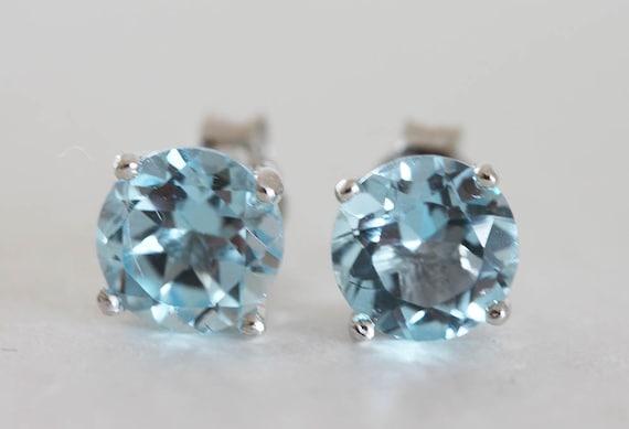 Blue Topaz Stud Earrings 6mm Sterling Silver With Blue Topaz Gemstones