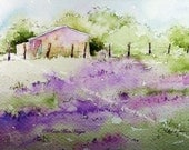 Lavender Field Watercolor Painting Print Landscape French
