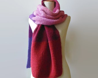 Red Purple Color Block Scarf, Knit Shawl, Cute Hand Knit Wrap Wool Long Statement Scarf, One of a Kind, Womens Scarves, Mens Scarf, branda