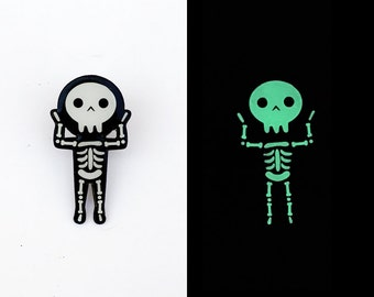 Skeleton Glow in the Dark Halloween Enamel Pin