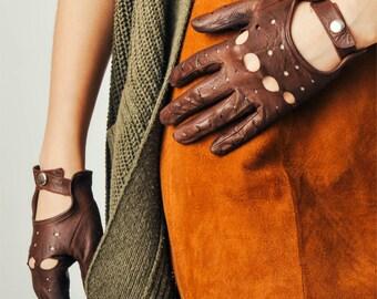 Vintage Brown Moto Leather Gloves