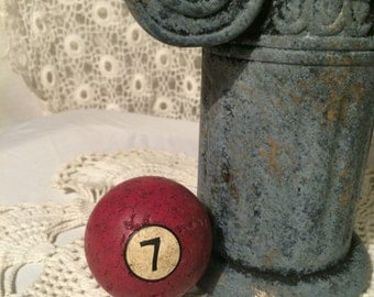 Vintage Antique Billiards pool ball Red number seven 7