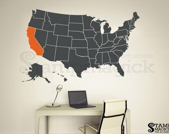 North America Map Decal United States USA US Map Wall Decal - Us border wall map north america map