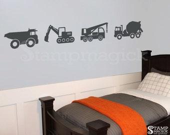 Trucks Wall Decal for Baby Boy Nursery Room - Construction Trucks Wall Art Stickers - K156G