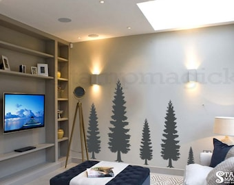 Pine Tree Wall Decal - Pine Forest Wall Art - Vinyl Christmas Tree Sticker Home Decor  - K374