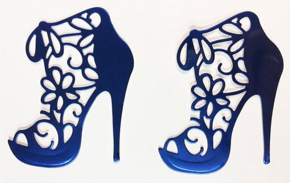 Flower Lace High Heel Pastel Royal Blue Foil Die Cut 10 Pieces Elegant Feminine Embellishment Scrapbook Greeting Card Art Craft Mixed Media