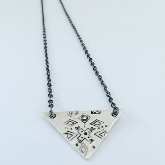 Frida Kahlo Inspired Triangle Sterling Silver Necklace - Folk - Gypsy - Festival - Aztec - Geometric - Limited Edition