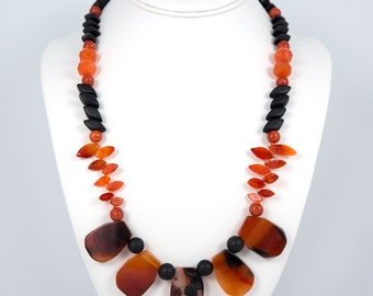Orange Forest, Necklace with Carnelian, Brazilian Sardonyx, Shungite, Coral, Wood