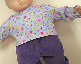 Bitty or Twin Doll Clothes - Purple glitter Corduroy Pants and Lavender with flowers Top