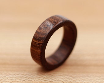 Brown Ebony Ring - Guayacan Wood - Custom Wood Ring - Unique Wedding Ring - Wedding Ring - Wooden Ring - Mens Jewelry - 5 Year Anniversary