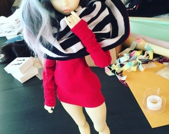 Slim MSD BJD clothes Red stripe Hooded dress MonstroDesigns