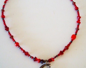 Judy's Moon Necklace with Red Glass Beads