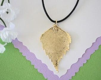 Gold Leaf Necklace, Real Leaf, Birch Leaf Pendant, Gold Birch Leaf Necklace, Real Leaf Necklace, 24kt Gold Dipped Leaf, LL109