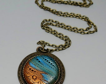 Polymer Clay Pendant Necklace, Turquoise and Gold Storm, Handmade