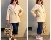SALE 80s ivory pea coat / wool cream coat / double breasted, speckled herringbone, pink satin lining, ILGWU, USA / womens medium