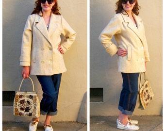 Vintage 80s pea coat / ivory WOOL coat / speckled herringbone cream wool coat, ILGWU, USA / womens medium