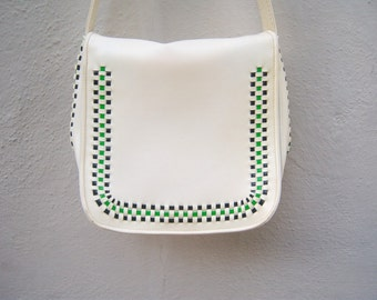 Mod shoulder bag / 60s 70s purse / ivory go go bag / green black weave / vegan scooter bag