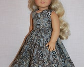 Upbeat Petites, brown paisley print sleeveless dress with full skirt, 18 inch doll clothes, maplelea