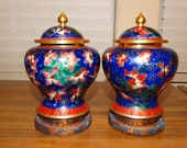 Rare Pair Of 2 Vintage Chinese Cloisonne Enamel Brass Lidded Ginger Jars, Vibrant Floral Colors, Silk Wrapped Base, Asian Decor