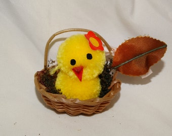 Rare Vintage Chenille Yellow Easter Chick in Basket, Circa 1960's Easter Village, Easter Basket Decoration, Easter Peep