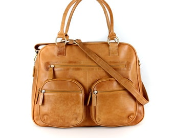 Brown Leather Weekend Holdall Travel Diaper Bag, Tan