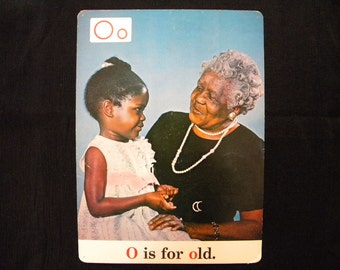 Rare Vintage 13 x 18 Classroom Poster O is for Old Black Americana ABC s 1970