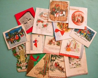 14 Vintage Art Deco Era Christmas Cards for Crafting and Repurposing 2 Unsigned
