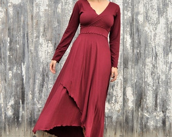 Full Length Dress, Organic Cotton V-Neck Dress, Goddess Dress