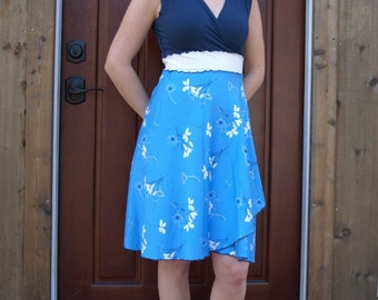 Blue Bella Wrap Dress ~ Bamboo & Organic Cotton ~ Made to Order