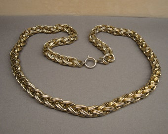 Vintage braided style gold tone metal chain link necklace, 24 inches long, Classic in terrific condition, Unsigned, Spring ring type clasp