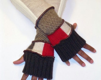 Fingerless Gloves, Patchwork Arm Warmers, (Dark Brown/Patched Red, Red Cream,Brown Stripe/Brown Herringbone /Patched Beige, Cream)