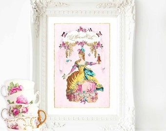 Marie Antoinette, let them eat cake, print, home decor, high tea, roses, cake print, vintage teacup, French vintage decor, pink, wall art